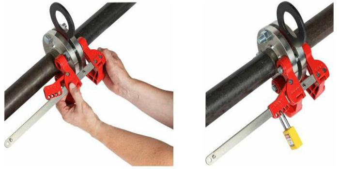 Bloqueo seguro para válvulas ciegas para la variedad más amplia de tuberías