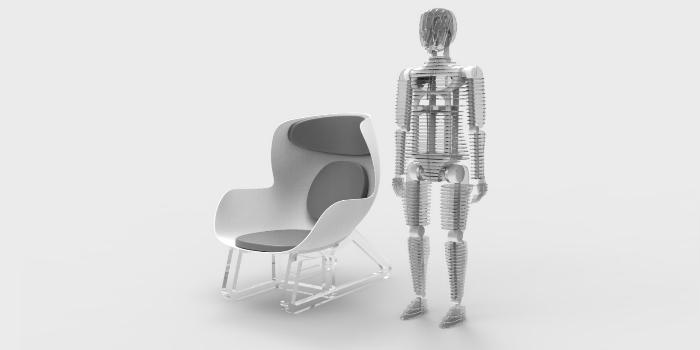 Maniquí con sensores y silla de sensores inteligentes