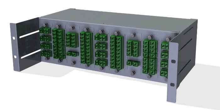 Paneles repartidores para módulos MPO y conjuntos pre montados sobre bandejas de splitters