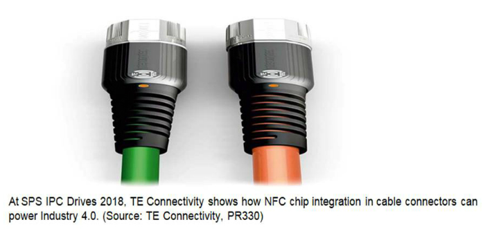At SPS IPC Drives 2018, TE Connectivity shows how NFC chip integration in cable connectors can power Industry 4.0