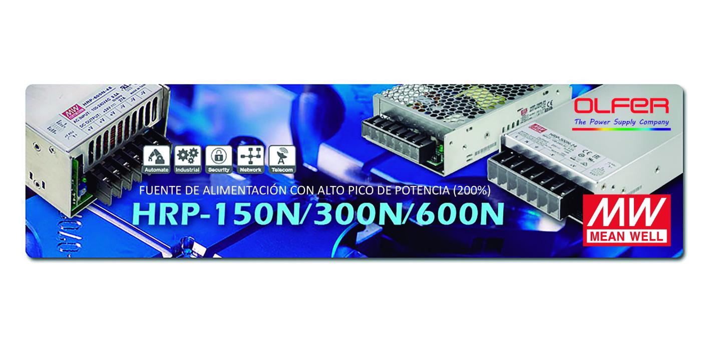 Series HRP-150N/300N/600N: Fuentes de alimentación con alto pico de potencia (200%)