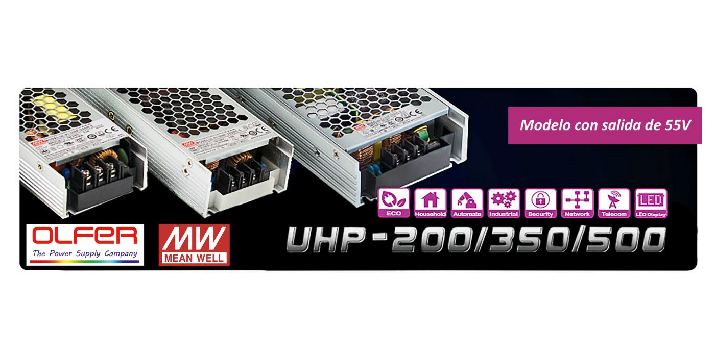 Fuentes de alimentación con salida de 55V:  serie UHP-200/350/500
