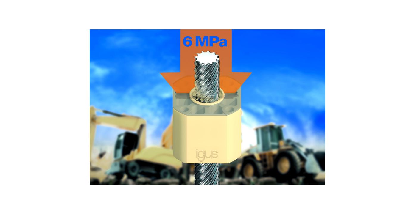 Ajuste de cargas pesadas sin lubricación con la nueva tuerca de polímero de igus