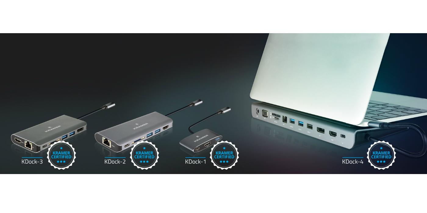 Kramer presenta sus estaciones de acoplamiento multipuerto USB-C de lafamilia KDock