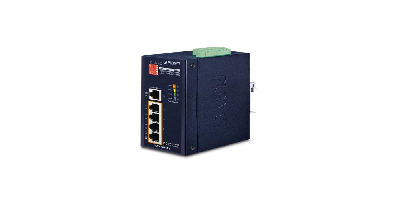 Switch industrial compacto IGS-504PT con cuatro puertos PoE Plus para entornos adversos