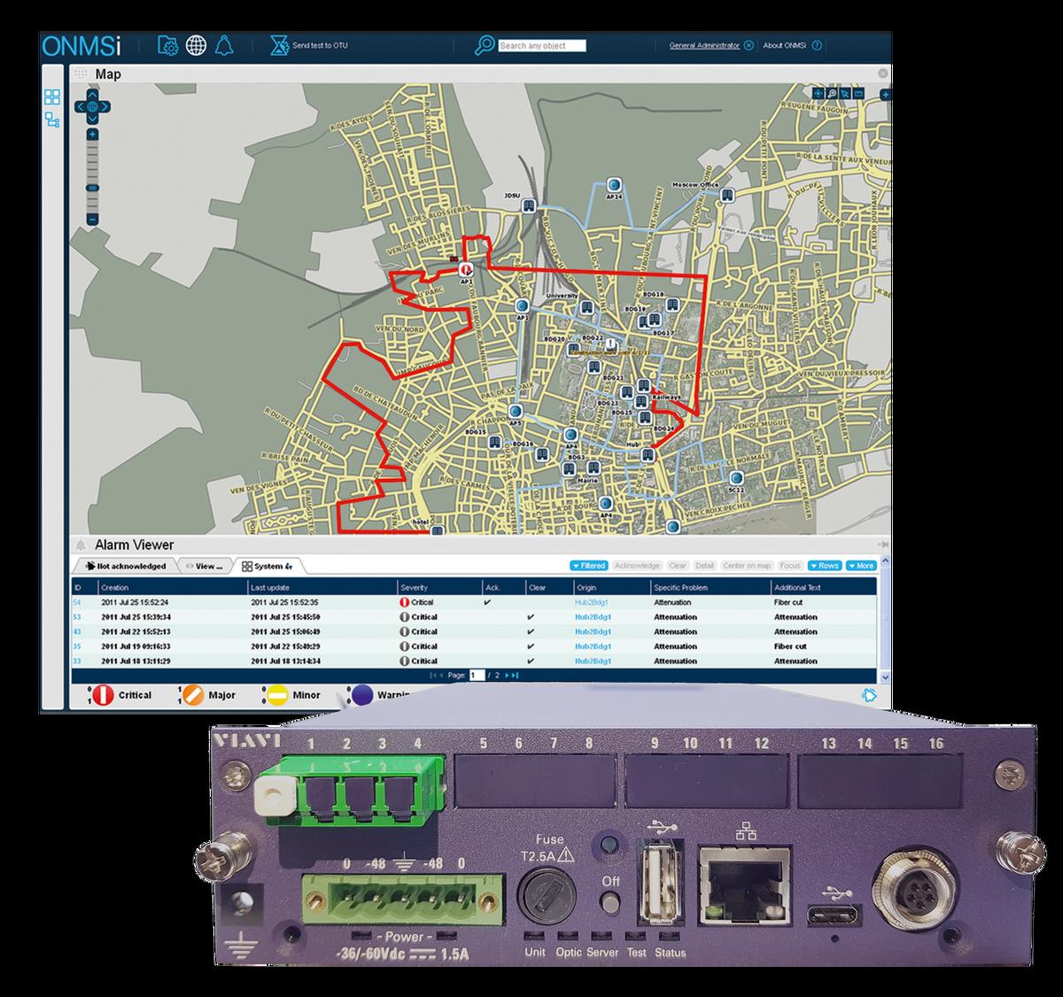 Función de monitorización de fibra patentada para el software ONMSi y SmartOTU