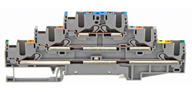 Terminales de tres niveles con conexión Push-in