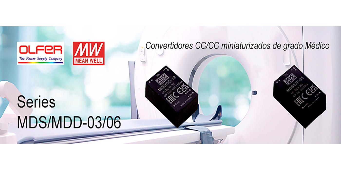 Series MDS03/06 y MDD03/06: Convertidores de grado médico miniaturizados